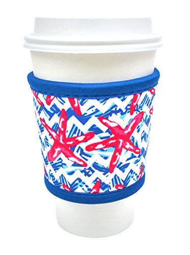Joe Jacket Drink Insulator, Coffee Sleeve, Cup Grip, Nautical Starfish (many colors avail.)