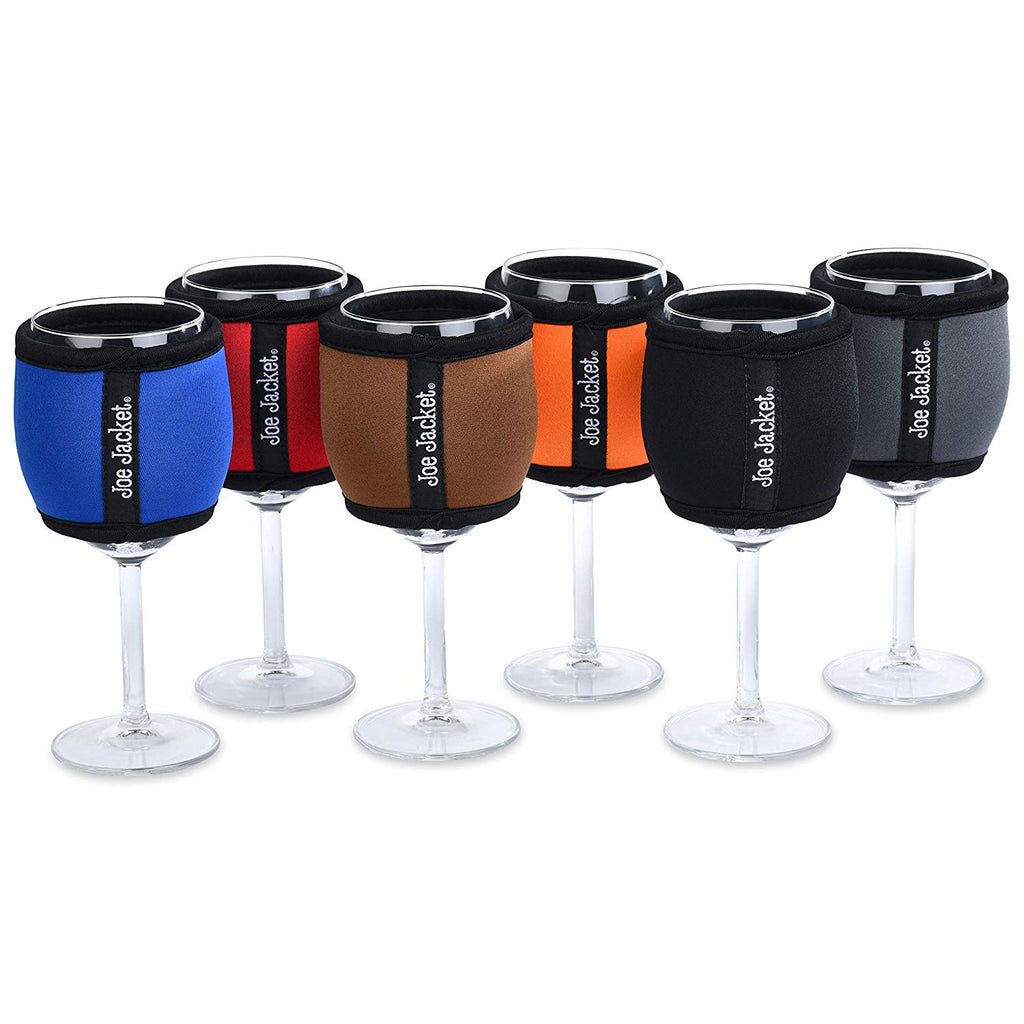 Joe Jacket - Neoprene Reuseable Coffee Sleeve - Complete Solids 6 Pack - Super Stylish Glass Insulator Keeps Your Beverage at the Correct Temp. Buy 6 and get 30% Off. (6PACK)