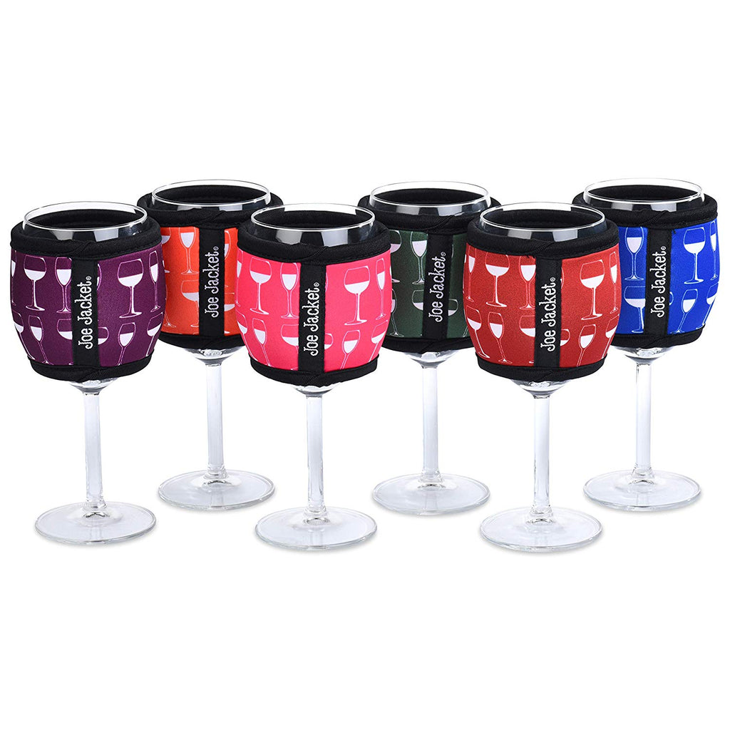 Joe Jacket - 6-Pack Neoprene Wine Sleeves - Wine Glass Design - Never Lose Your Wine Glass Again! Super Stylish Glass and Keeps Your Wine at the Correct Temp. Buy 6-Pack and get 30% Off. (6PACK)