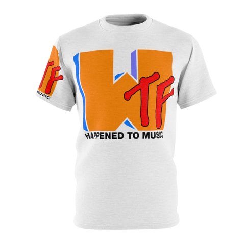 WTF HAPPENED TO MUSIC Unisex AOP Cut & Sew Tee