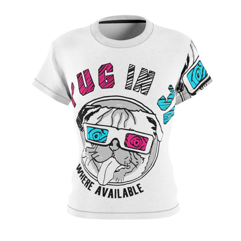 Pug In 3D Women's AOP Cut & Sew Tee
