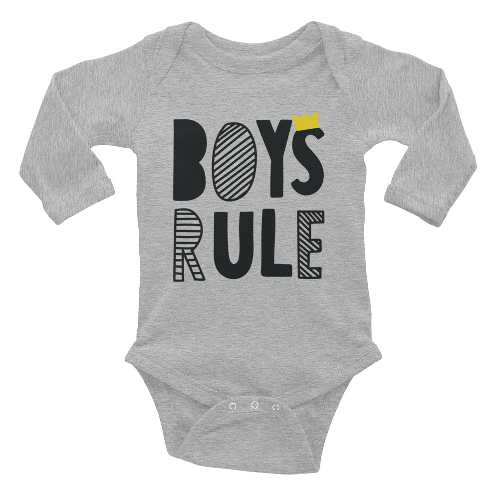 Boys Rules Infant Long Sleeve Bodysuit - Tshirtsbros