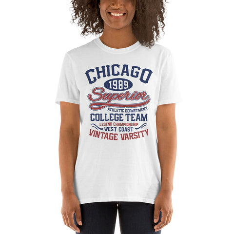 Chicago 1989 College Team Short-Sleeve Unisex T-Shirt
