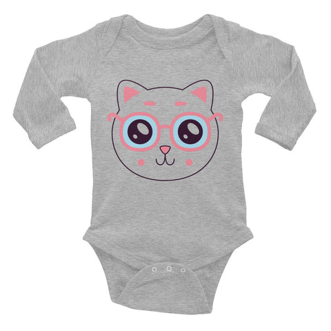 Pink Cat Infant Long Sleeve Bodysuit