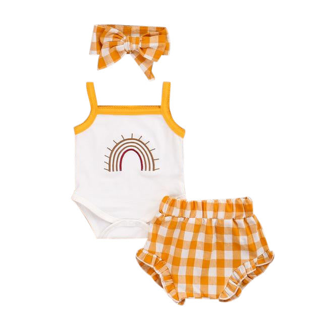 Rainbow Singlet Bloomer Set - Orange Checks