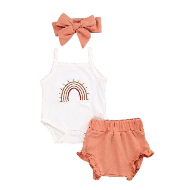 Rainbow Singlet Bloomer Set - Peach