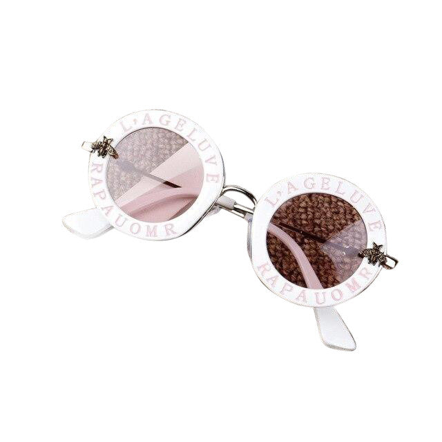 Round Sunglasses - White