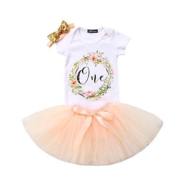 Birthday Tutu Set - Peach