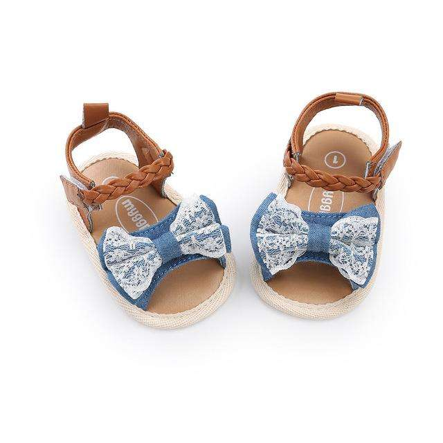 Bow Sandals - Denim Look