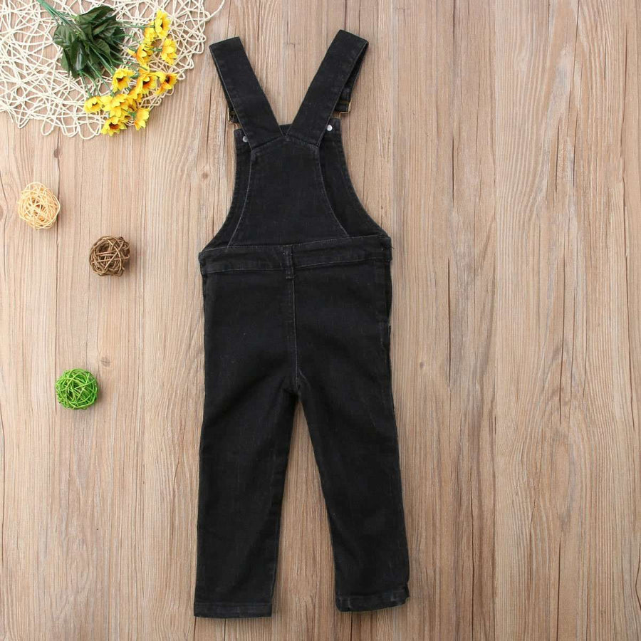 Denim Long Overalls - Black