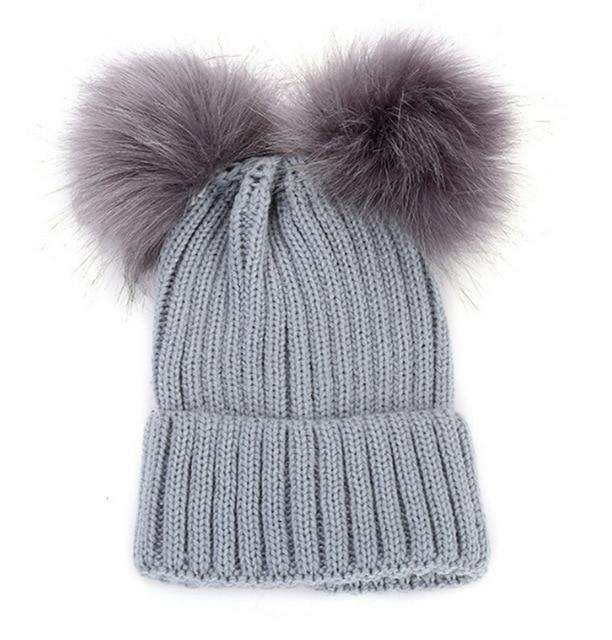Double Pom Pom Beanie - Light Grey