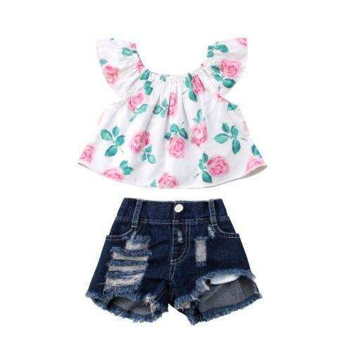 Flower Denim Shorts Set