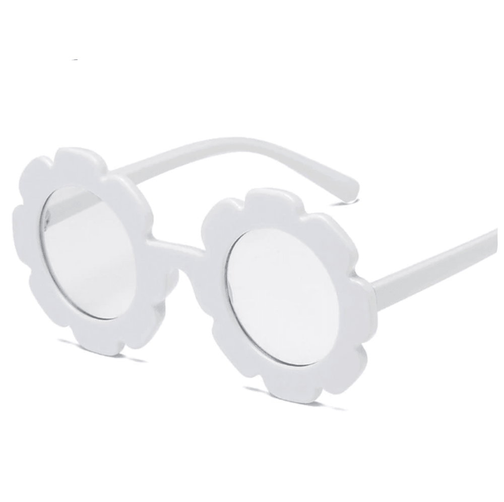 Flower Sunglasses - White (Clear Lens)