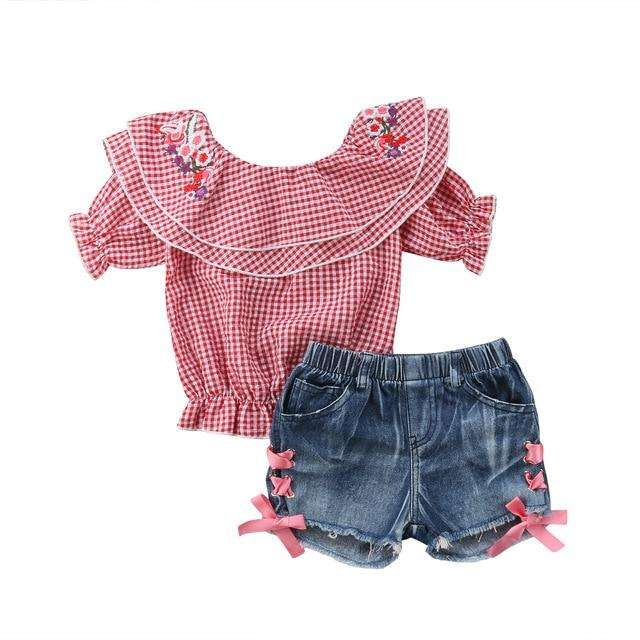 Kenzie Denim Set - Red