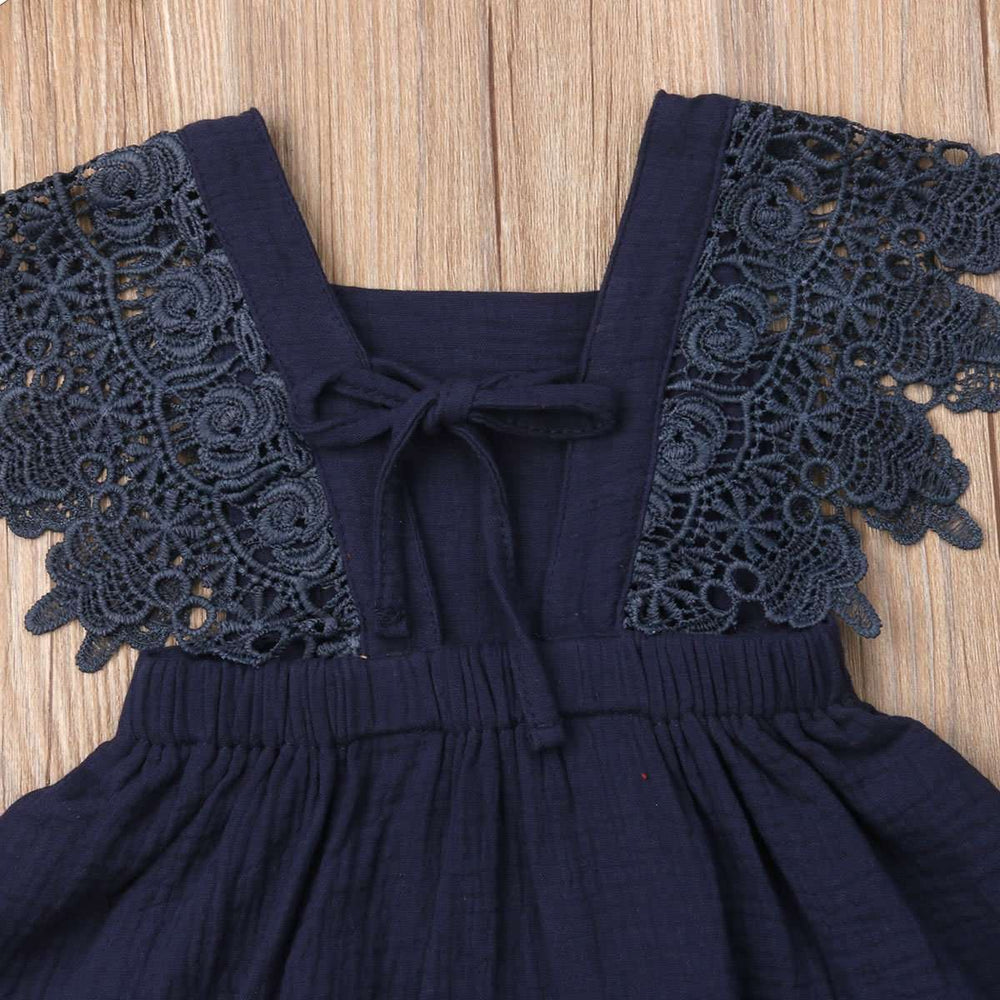 Linen Flutter Dress - Dark Blue