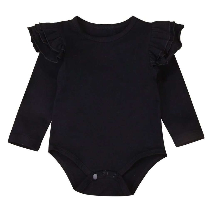 Long Sleeve Flutter Bodysuit - Black
