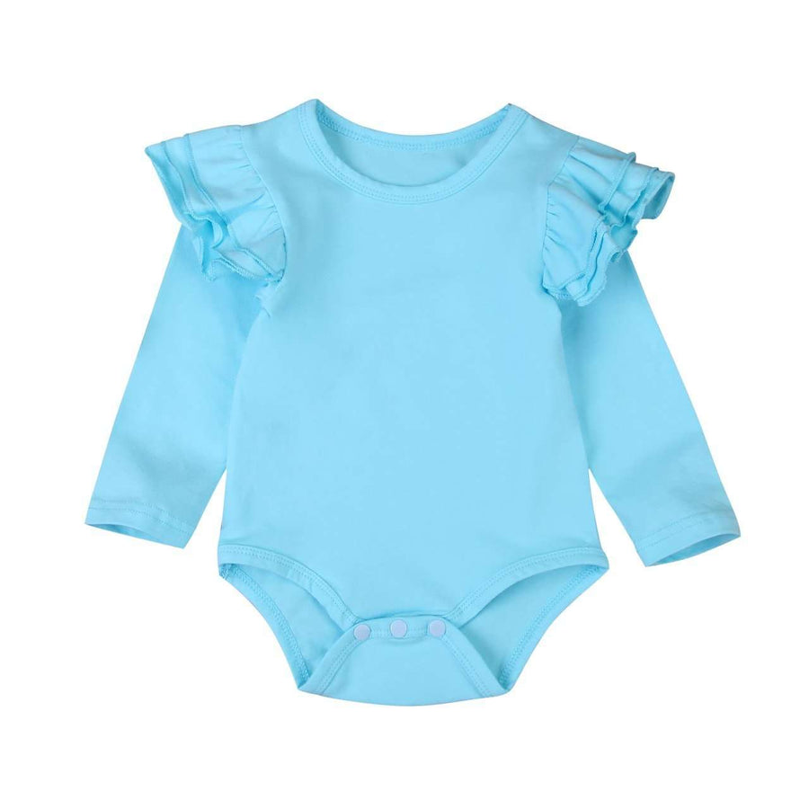 Long Sleeve Flutter Bodysuit - Blue