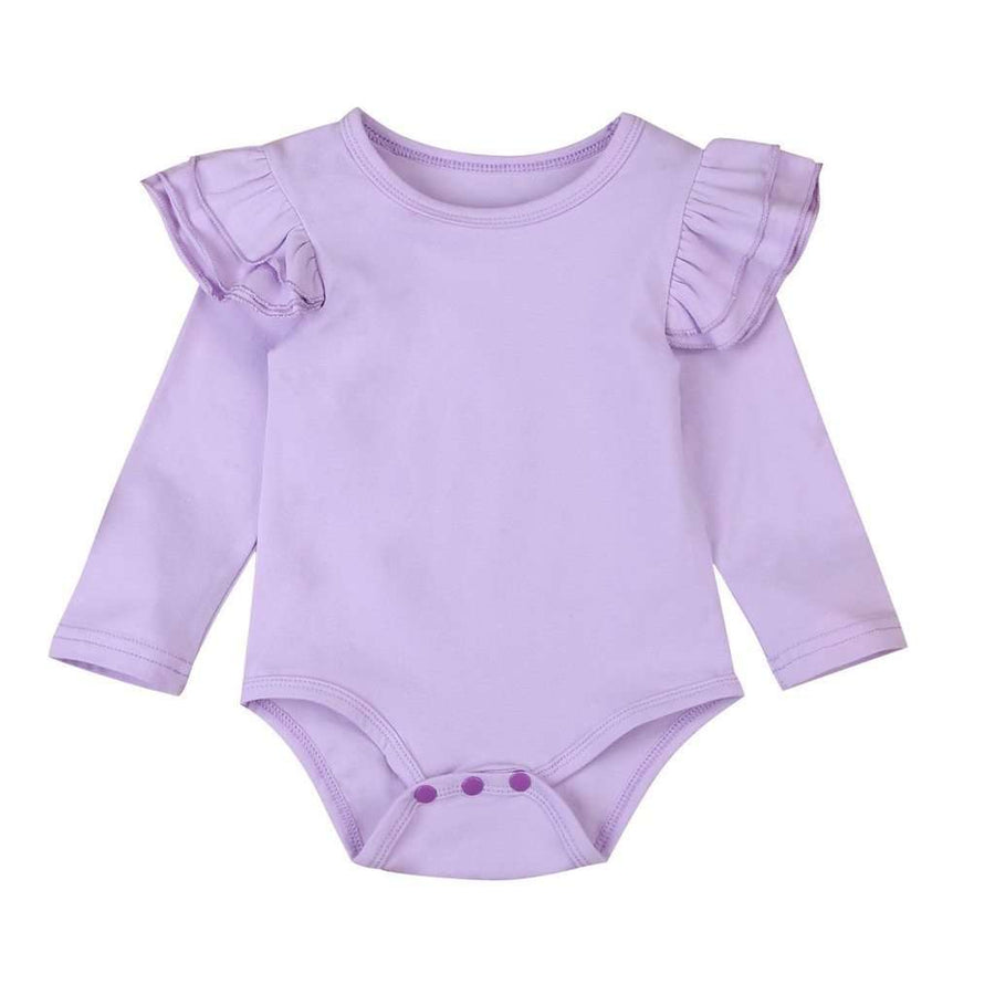 Long Sleeve Flutter Bodysuit - Lavender