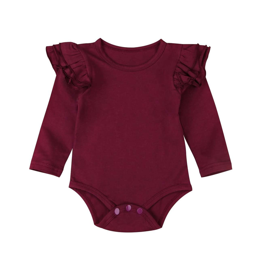 Long Sleeve Flutter Bodysuit - Maroon