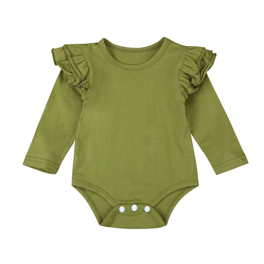 Long Sleeve Flutter Bodysuit - Olive