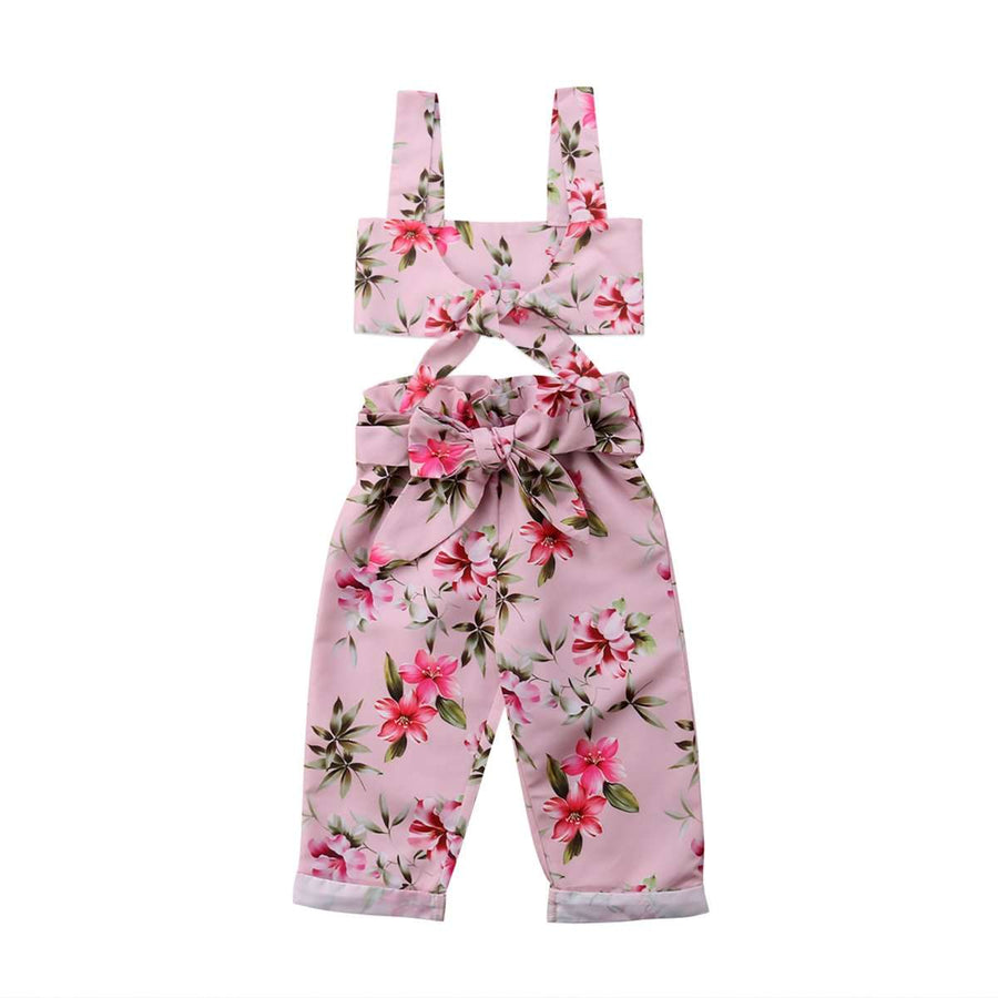 Pink Flowers Crop Set