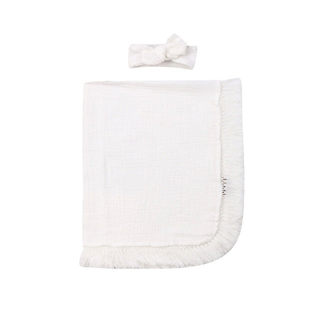 Fringed Swaddle - White