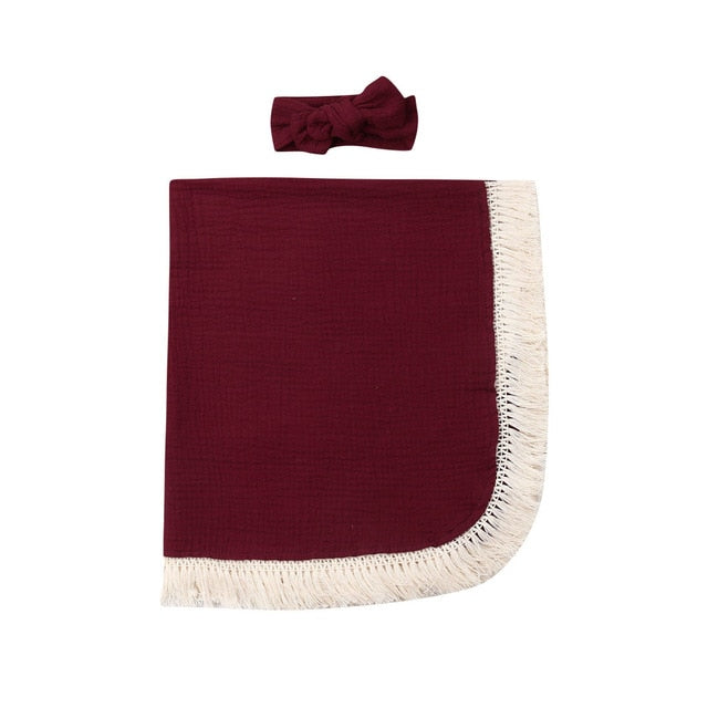 Fringed Swaddle - Dark Red