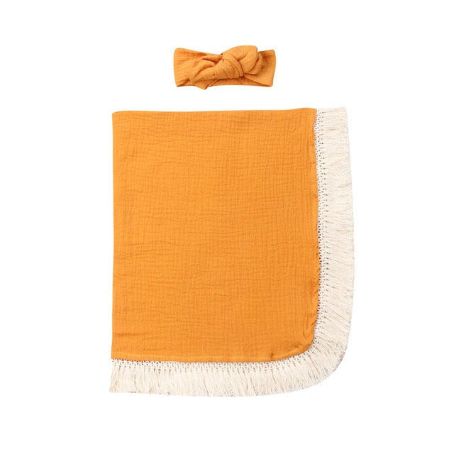 Fringed Swaddle - Yellow