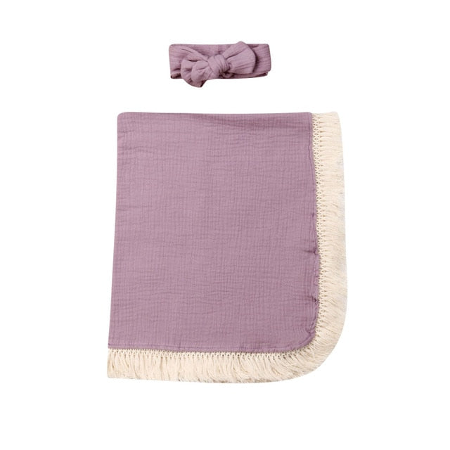 Fringed Swaddle - Purple
