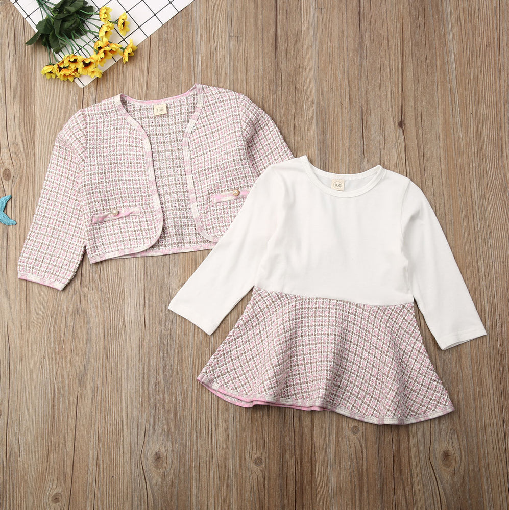 Plaid Jacket and Skirt Set - Pink