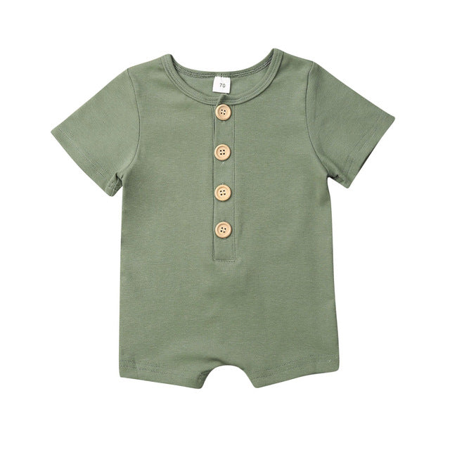Button Up Onesie - Olive Green