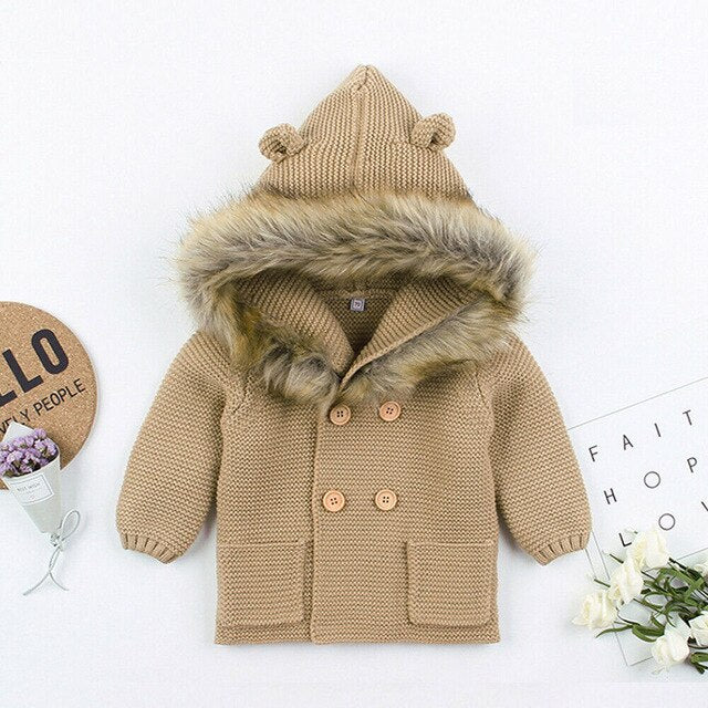 Faux Fur Hood Jacket - Tan
