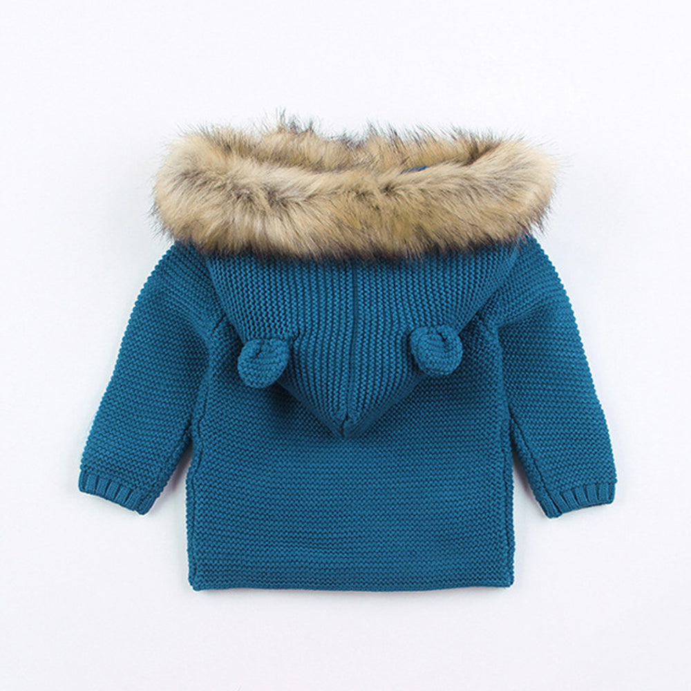 Faux Fur Hood Jacket - Blue
