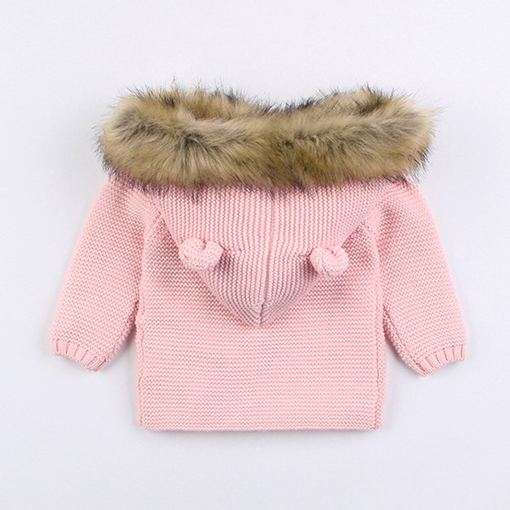 Faux Fur Hood Jacket - Pink