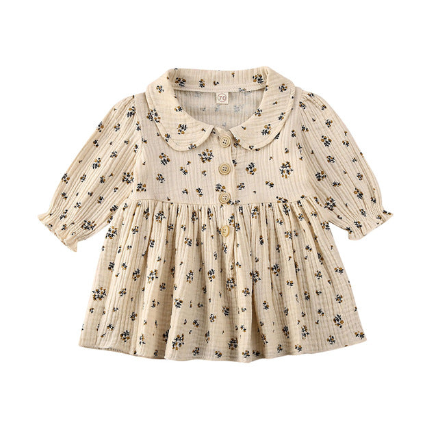 Collar Dress - Cream Pattern