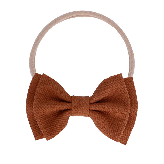 Basic Bow Headband - Brown