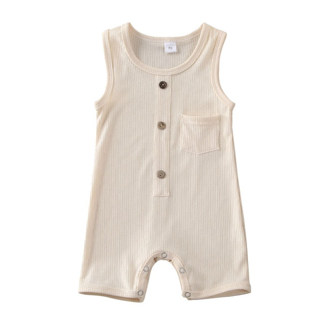 Button Pocket Onesie - Beige
