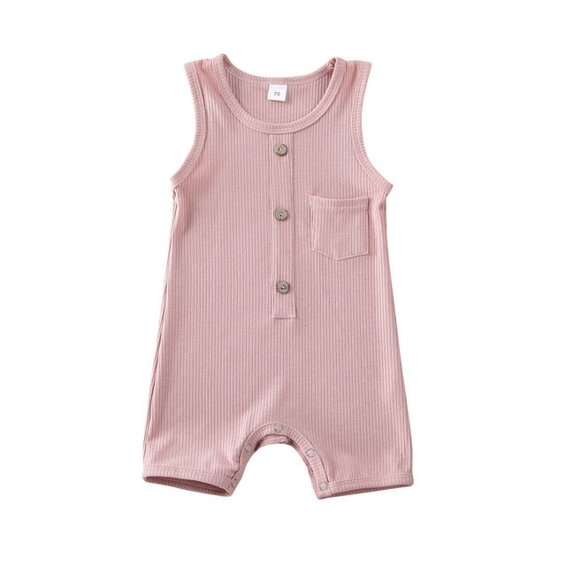 Button Pocket Onesie - Pink