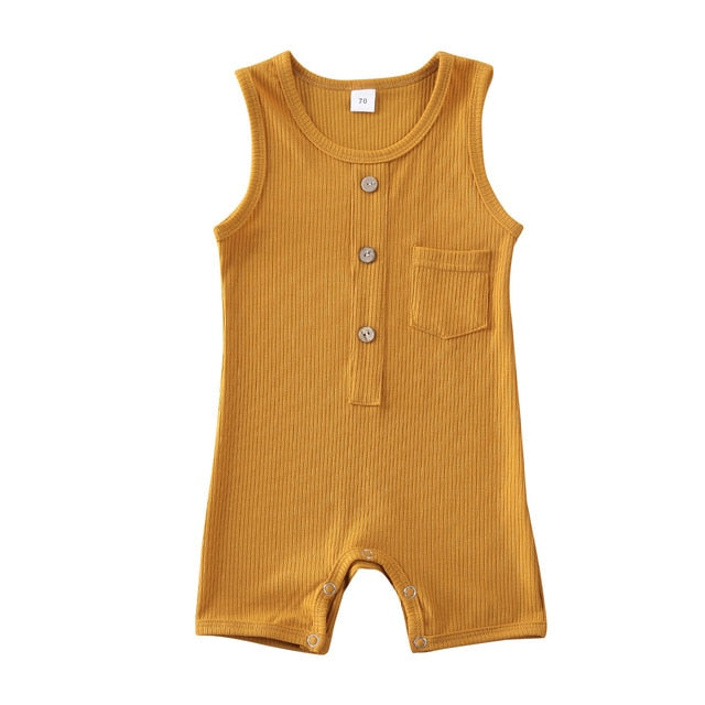 Button Pocket Onesie - Mustard
