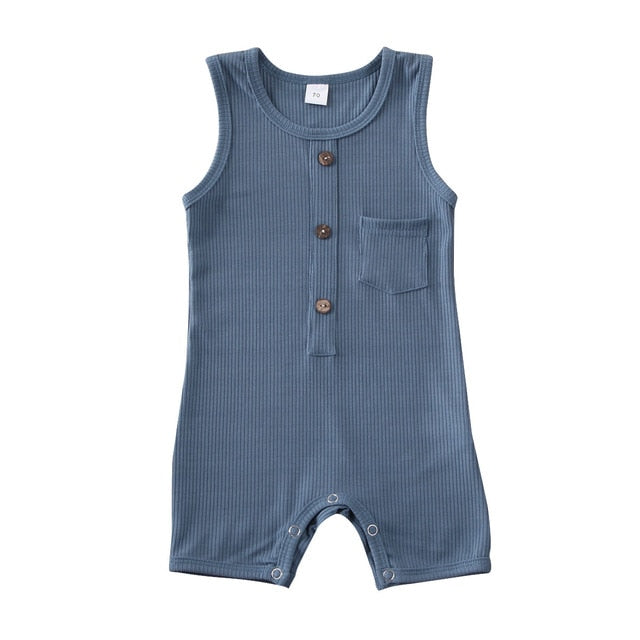 Button Pocket Onesie - Blue