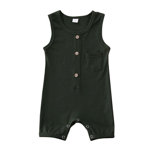 Button Pocket Onesie - Forest Green