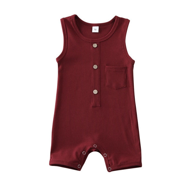 Button Pocket Onesie - Burgundy