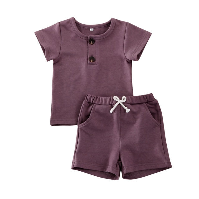 Simple Shorts Set - Grape