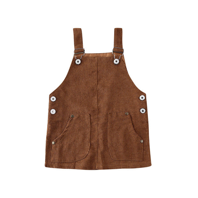 Cord Overall Dress - Brown
