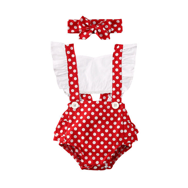 Pinny Romper - Red Polkadot