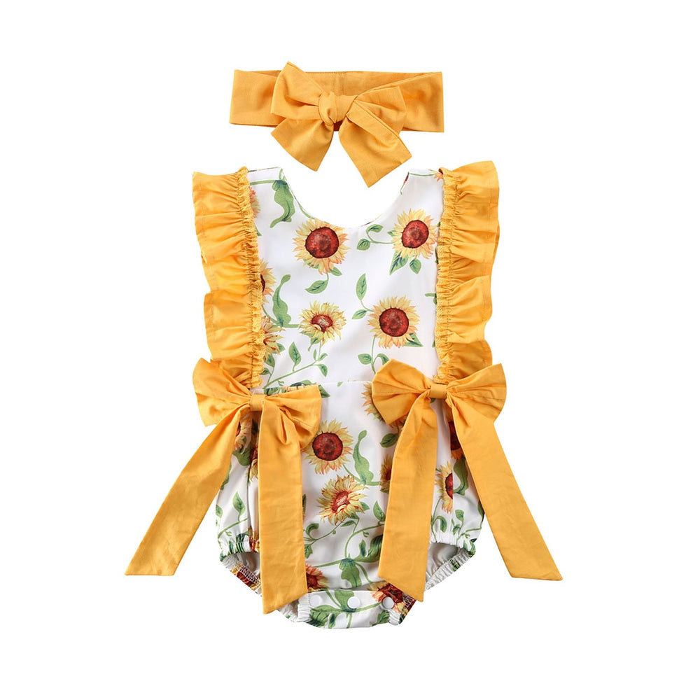 Sunflower Bows Romper