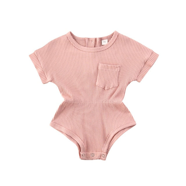 Ribbed T-Shirt Romper - Pink