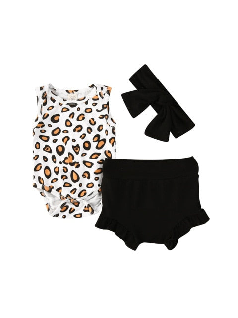 Leopard Bloomer Set - Black