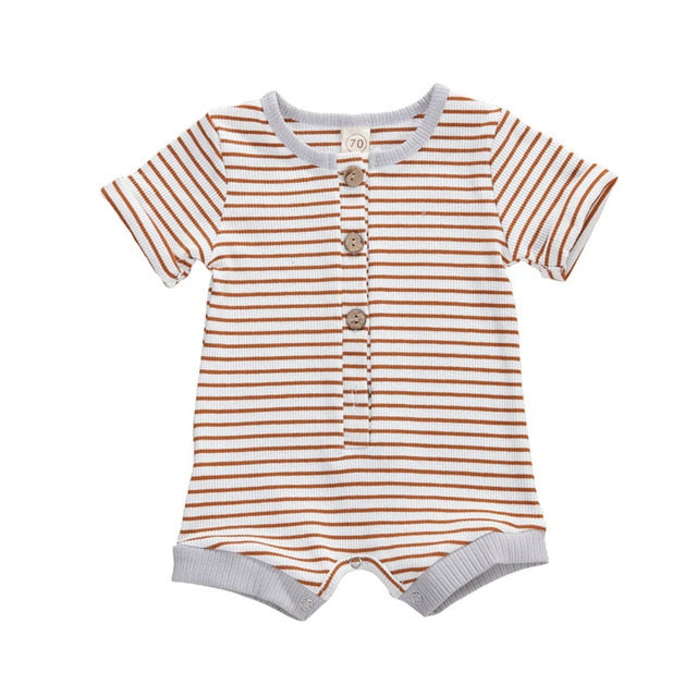 Stripe Basic Button Romper - Brown