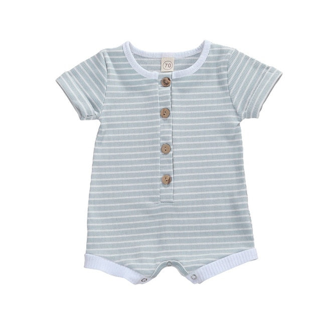 Stripe Basic Button Romper - Blue